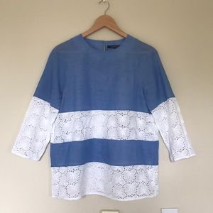 French Connection Blue and White Eyelet Blouse